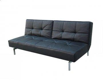 Finland Black Leather Convertible Sofa