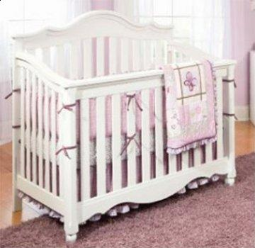 Spring Garden White Wood Baby Crib