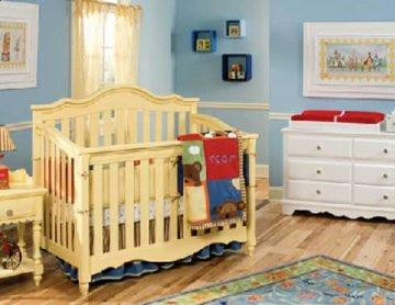Spring Garden Yellow Wood Baby Crib