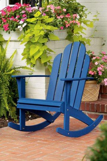 Woodstock Blue Adirondack Rocking Chair