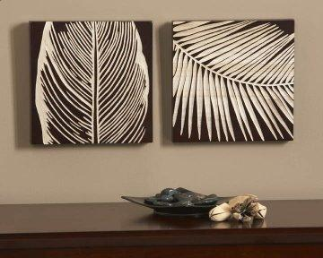 Espresso Tropical Leaf II Wood Carvings