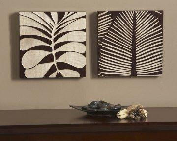 Espresso Tropical Leaf III Wood Carvings