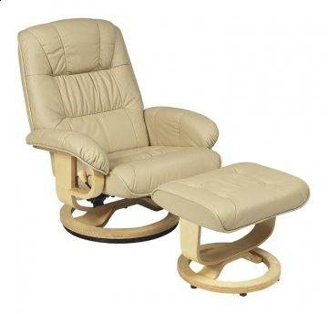 Mario Khaki R-028 Series Leather Swivel Recliner and Ottoman Set