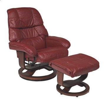 Mario Scarlet R-262 Series Leather Swivel Recliner and Ottoman Set