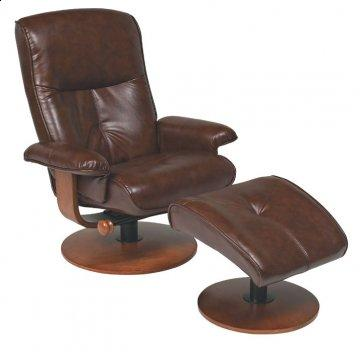 Nexus Brown R-634 Series Leather Swivel Recliner and Ottoman Set