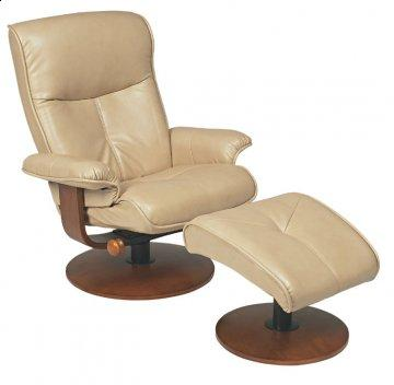 Nexus Sand R-634 Series Leather Swivel Recliner and Ottoman Set