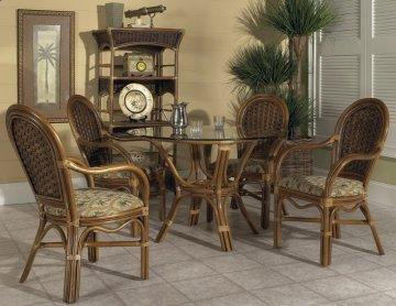 5 PC Pelican Harbor Round Glass Dining Furniture Set