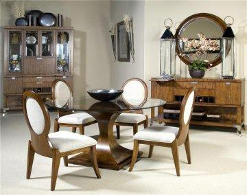 5 PC Concorde Suite Round Glass Dining Room Furniture Set