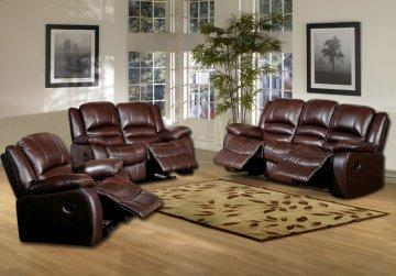 3 PC Brownstone Leather Recliner Sofa Set