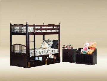 Walnut Twin/Twin Spindle Bunk Bed