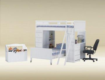 White Bead Board Twin Loft Bunk Bed