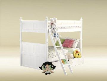 White Full/Full Bead Board Bunk Bed