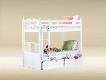 White Twin/Twin Spindle Bunk Bed