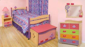 4 PC Girl Teaset Twin Storage Bedroom Furniture Set