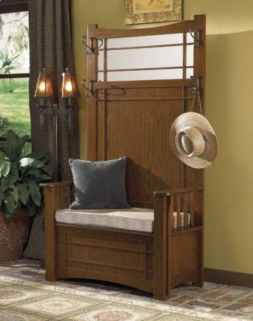 Mission Oak Hall Tree with Storage Bench