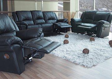 3 PC Promenade Black Leather Recliner Sofa Set