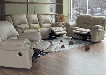 3 PC Promenade Taupe Leather Recliner Sofa Set