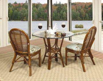 3 PC Willow Creek Cafe Round Glass Dining Furniture Set