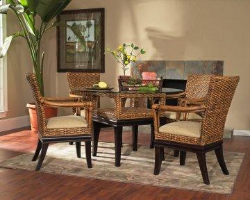 5 PC Biscayne Round Glass Dining Furniture Set