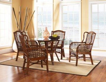 5 PC Cape Cod Round Glass Dining Furniture Set