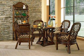 5 PC Coco Cay Regency Glass Pedestal Dining Furniture Set