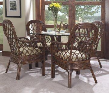 5 PC Coco Cay Round Glass Dining Furniture Set