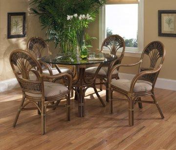 5 PC Tradewinds Round Glass Dining Furniture Set