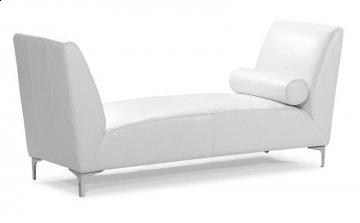 Atlas White Leather Bench