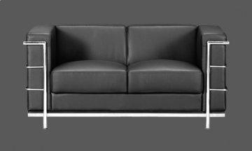 Fortress Black Leather Loveseat