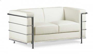 Fortress White Leather Loveseat