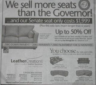 Chicago Furniture Company Also Selling Senate Seats