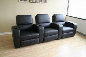 Showtime Black Leather Home Theater Seating