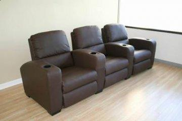 Showtime Brown Leather Home Theater Seating
