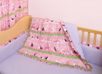 4 PC Poodles in Paris Crib Bedding Set