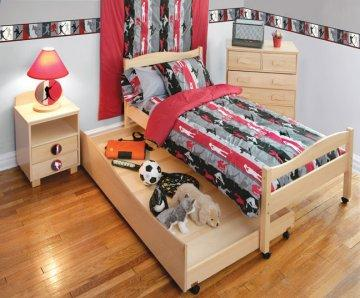 Natural Twin Storage Bed