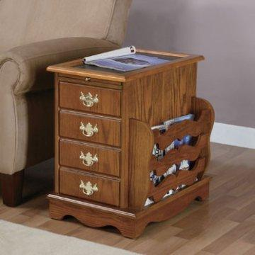 Nostalgic Oak Magazine End Table with Rack