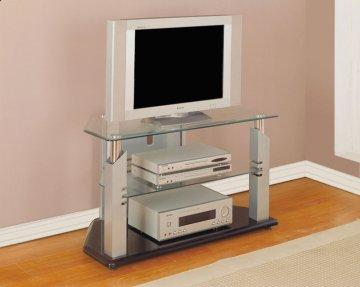 Glossy Silver Chrome TV Stand
